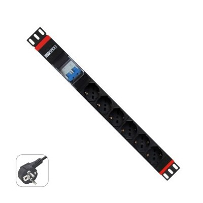 Regleta rack wp 1u 6 enchufes schuko con magnetotermico - Imagen 1