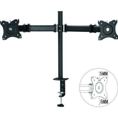 Soporte para 2 monitores rotacion 360º hasta 27pulgadas vesa 100x100 hasta 12kg negro - Imagen 1