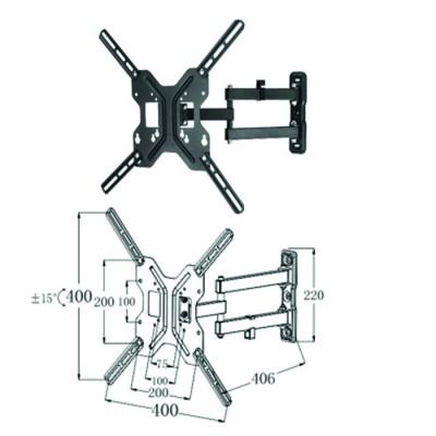 Soporte articulado de pared para tv - monitor rotacion 180º hasta 55pulgadas(segun vesa) inclinacion 15º vesa 400x400 hasta 25kg