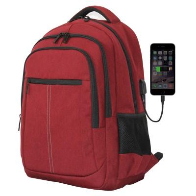 Mochila phoenix boston para portatil hasta 15.6 pulgadas -  con cable usb - viaje - rojo - Imagen 1