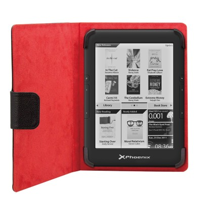 Funda universal phoenix phebookcase6+ para tablet - ebook  super fina - slim  hasta 6'' negra simil piel - Imagen 1