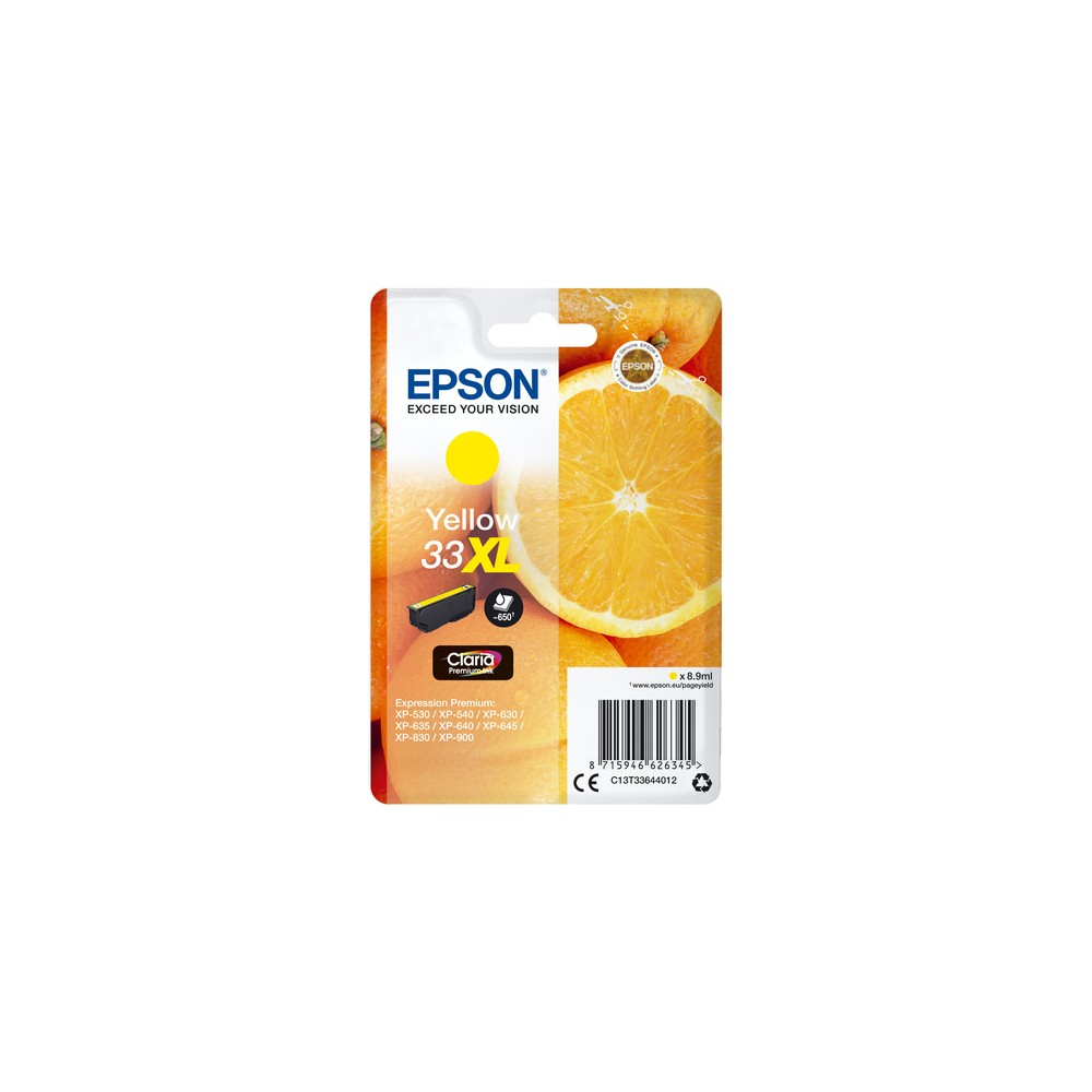 Epson Oranges Singlepack Yellow 33XL Claria Premium Ink - Imagen 1