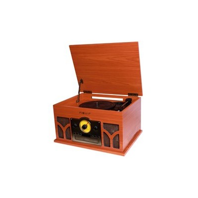 Giradiscos -  tocadiscos con radio cd conversor bluetooth nevir nvr - 807vrbuc de madera - Imagen 1
