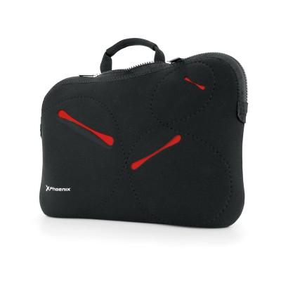 Funda - maletin sleeve neopreno phoenix stockholm para portatil netbook hasta 17pulgadas color negro detalles en rojo - Imagen 1