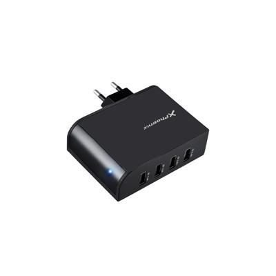Cargador adaptador usb universal de pared phoenix phmultiusbcharger 4 x usb negro 5.1v 2.1a - Imagen 1