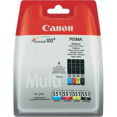 Canon CLI-551 C/M/Y/BK w/sec Original Negro, Cian, magenta, Amarillo Multipack 4 pieza(s) - Imagen 1