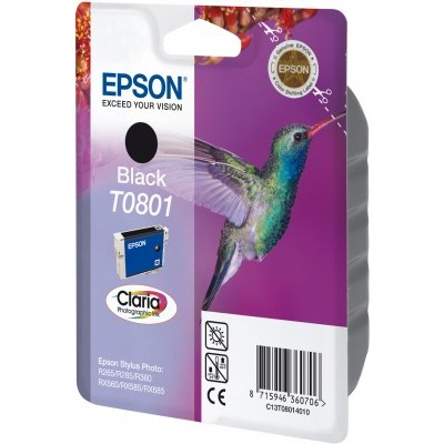 Epson Hummingbird Singlepack Black T0801 Claria Photographic Ink - Imagen 2