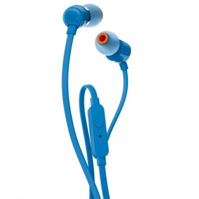 Auriculares intrauditivos jbl t110 blue - pure bass - drivers 9mm - cable plano - manos libres - Imagen 1