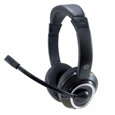 Auricular conceptronic polona01b usb + microfono negro - Imagen 1