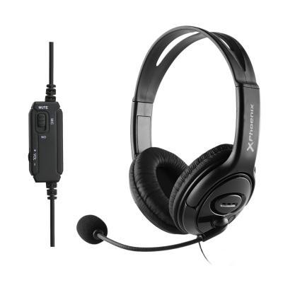 Auriculares con microfono usb phoenix control de volumen y mute en cable ideal oficina y teletrabajo conector jack 4 pines + ada
