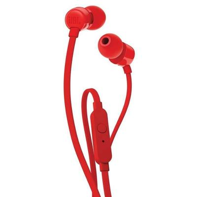 Auriculares intrauditivos jbl t110 red - pure bass - drivers 9mm - cable plano - manos libres - Imagen 1
