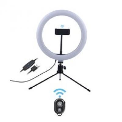 Anillo flux´s para selfies neptuno de 10pulgadas - 25cm tripode sobremesa - soporte movil - 3 modos luz y 10 brillo - Imagen 1
