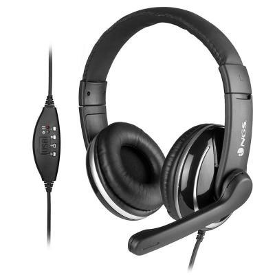 Auriculares ngs de diadema con microfono vox800usb usb negro - Imagen 1