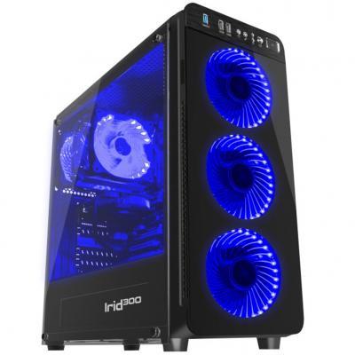 Caja gaming genesis irid 300 atx 1xusb 3.0 2xusb 2.0 s - f cristal templado azul - Imagen 1