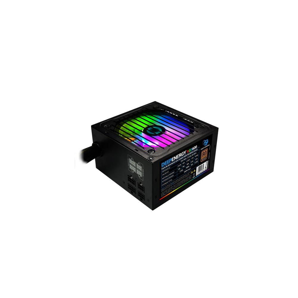 CoolBox DeepEnergy RGB600 unidad de fuente de alimentación 600 W 20+4 pin ATX ATX Negro - Imagen 1