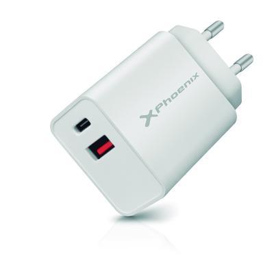 Cargador dual para movil smartphone phoenix 20w - tipo c - usb - carga rapida - Imagen 1