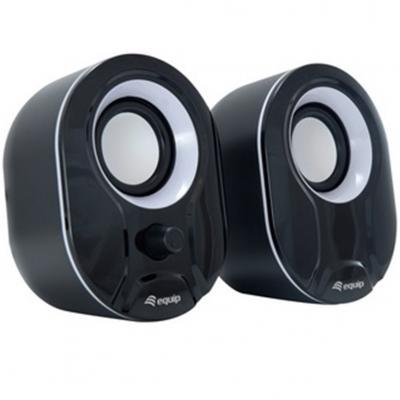 Altavoces 2.0 equip life 6w rms color negro y blanco jack 3.5pulgadas control de volumen alimetancion usb - Imagen 1