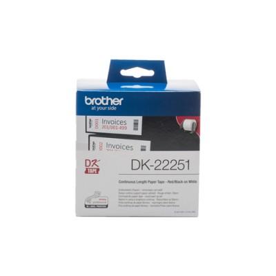 Brother DK-22251 cinta para impresora de etiquetas Negro y rojo sobre blanco - Imagen 1