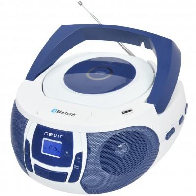 Radio cd mp3 portatil nevir nvr -  481ub blanco azul - bluetooth - Imagen 1