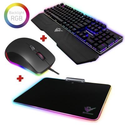 Kit gaming rgb phoenix - teclado mecanico rgb con software - raton rgb con software - alfombrilla rigida rgb - Imagen 1