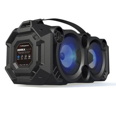 Altavoz portatil phoenix phzookasound 24w con luz led - bluetooth - radio fm - usb - microsd - aux - in - entrada de microfono -