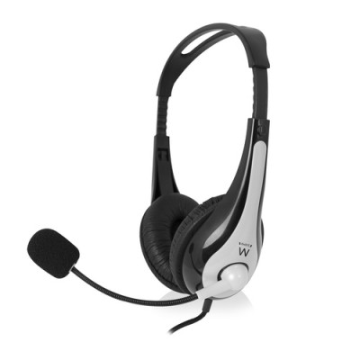 Ewent EW3562 auricular y casco Auriculares Diadema Negro, Plata - Imagen 1