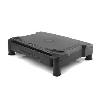 Elevador soporte de monitor phoenix - soporte escritorio monitor -  cajon  organizador - 2 alturas - goma antideslizante - negro